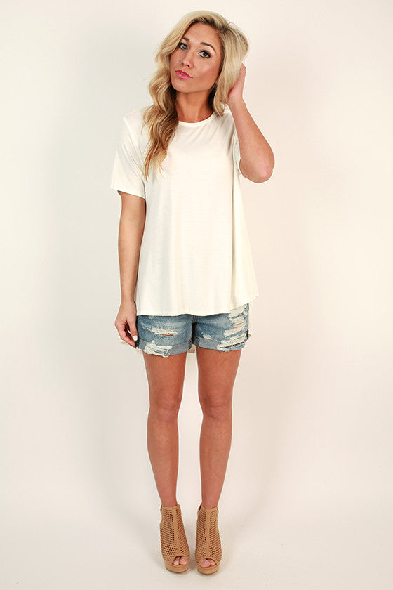 The Jetsetter Hi-Lo Top in Ivory
