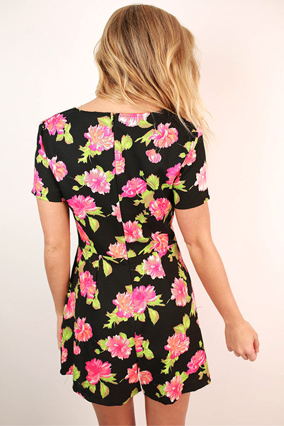 Wine & Roses Romper in Black