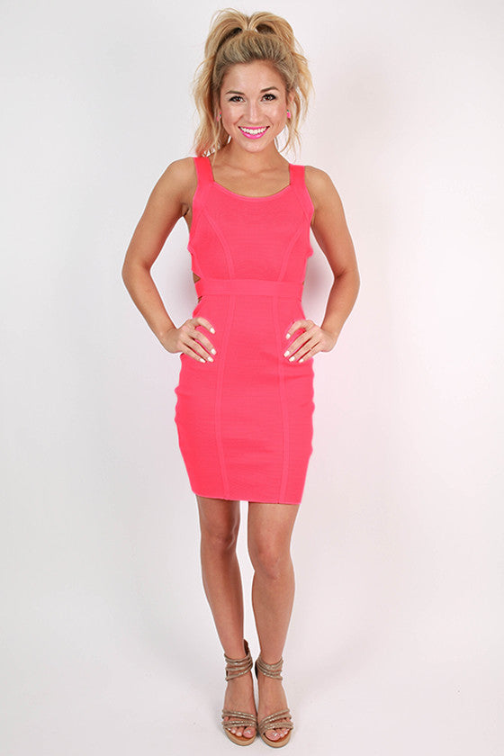 Stay Fierce Bodycon Dress in Neon Pink