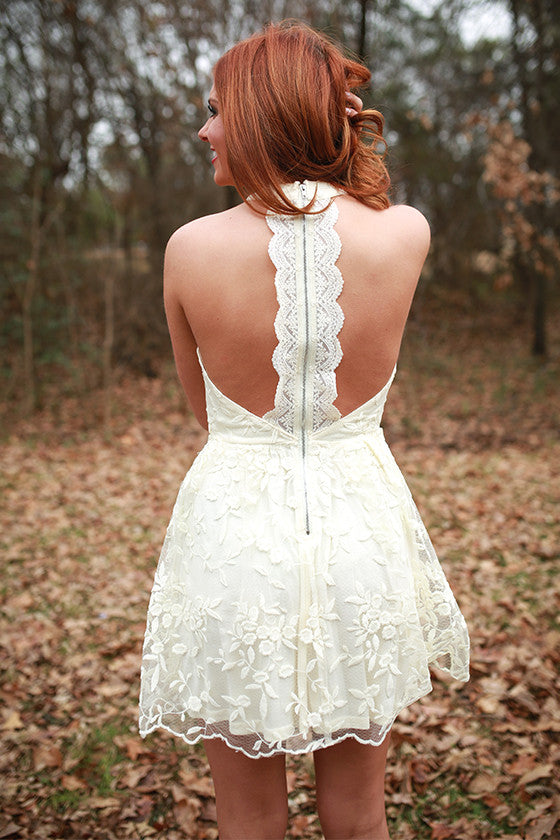 Take Me To The Derby Lace Dress in Cream