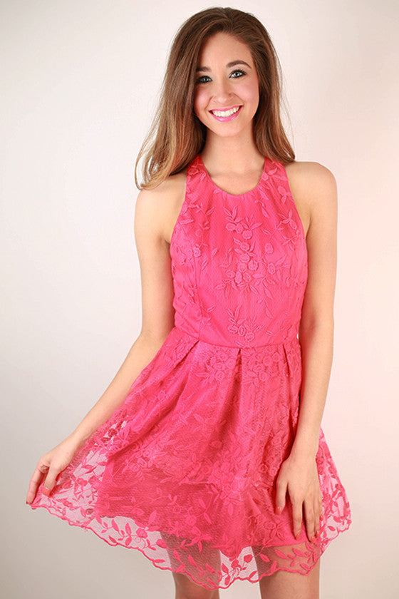 Take Me To The Derby Lace Dress in Raspberry