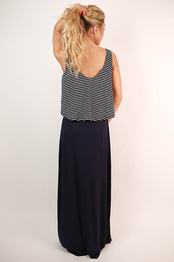 Well Played Stripe Ruffle Maxi Dress in Navy