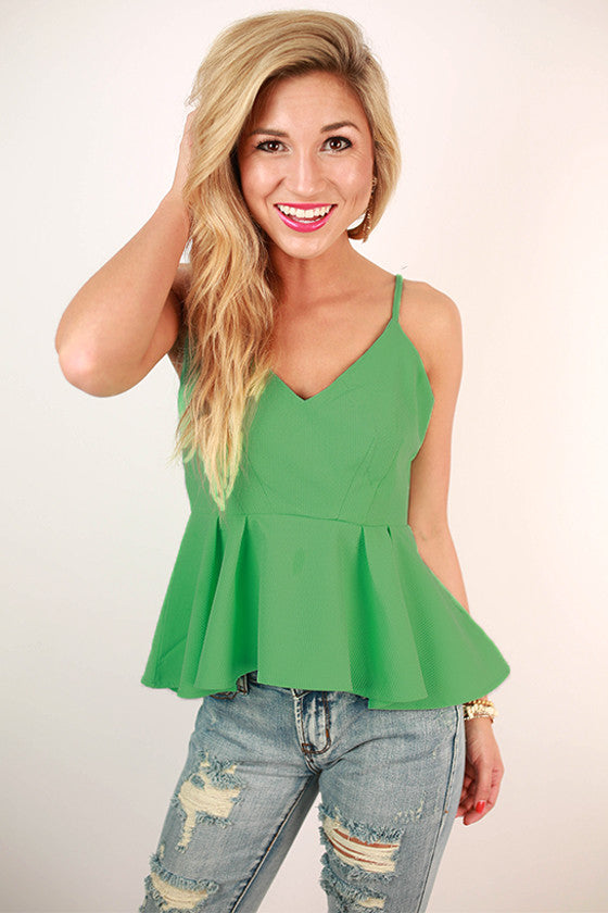 Way To My Heart Peplum Tank in Mint