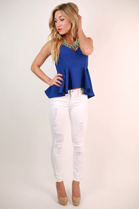 Way To My Heart Peplum Tank in Royal Blue