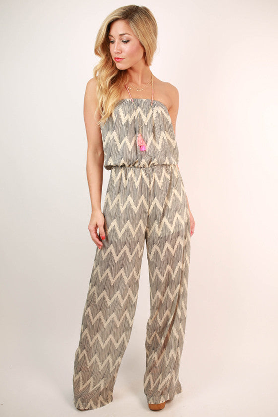 Sway With Me Strapless Jumpsuit in Cream