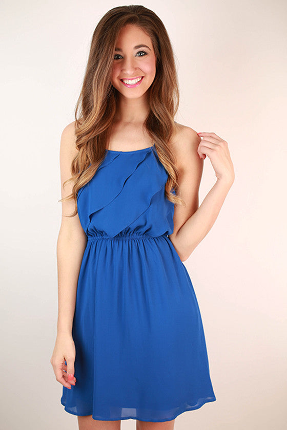 Electric Avenue Front Ruffle Dress in Royal Blue
