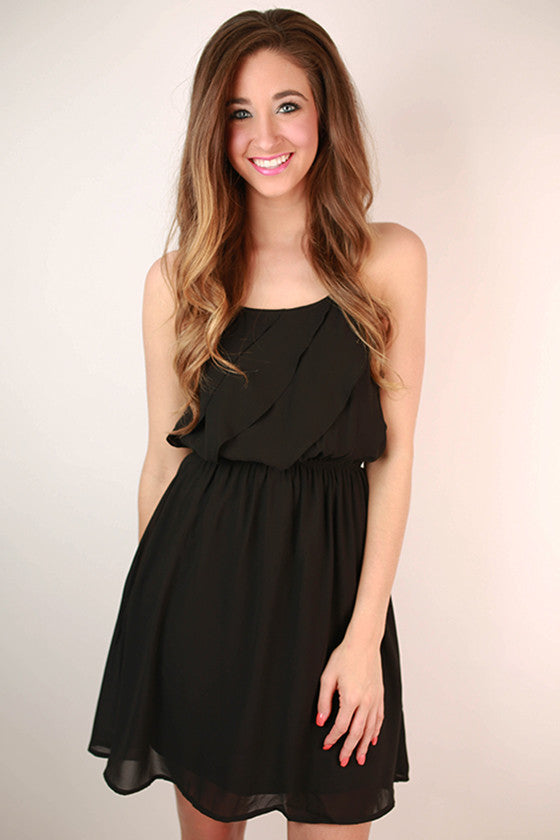 Electric Avenue Front Ruffle Dress in Black
