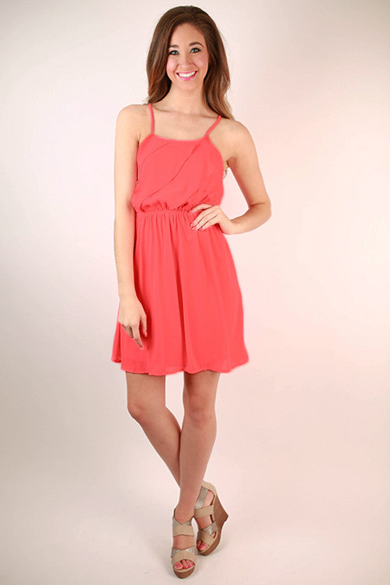 Electric Avenue Front Ruffle Dress in Neon Calypso