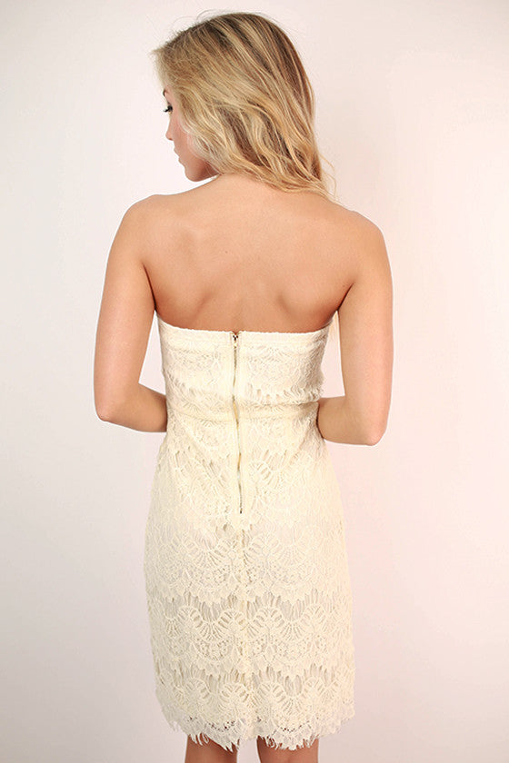 Endless Lace Strapless Dress in Ivory