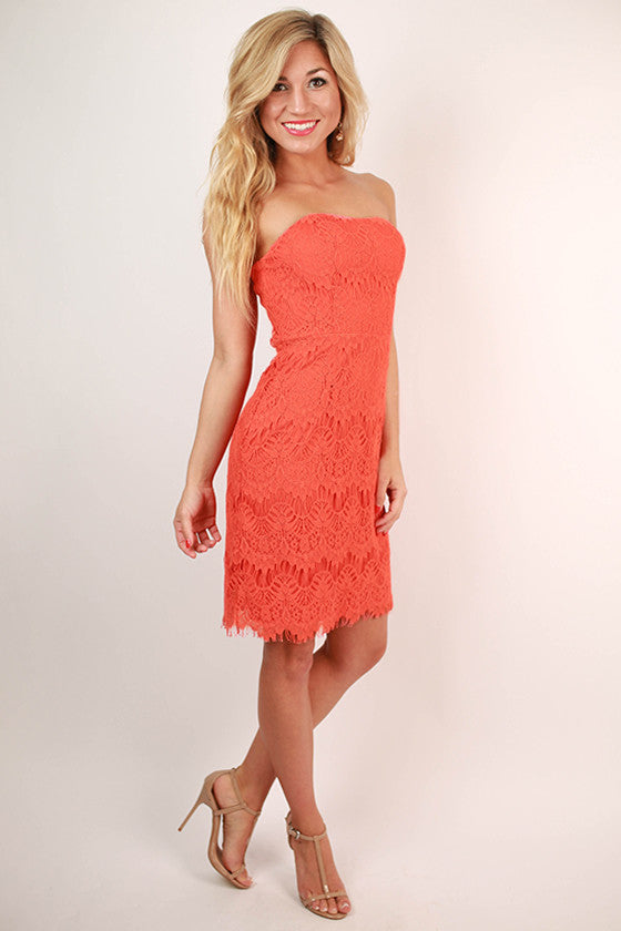 Endless Lace Strapless Dress in Coral