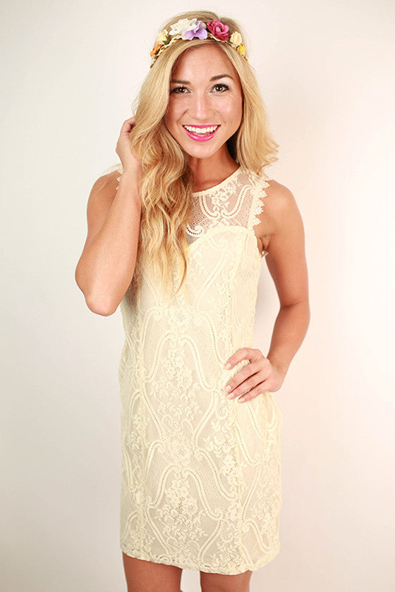 Sweetly Divine Lace Dress in Cream