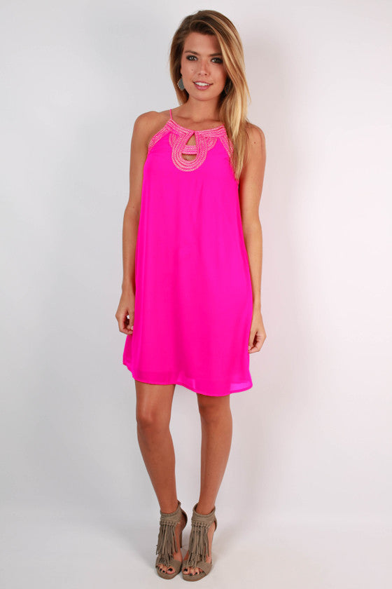 The Best Intentions Shift Dress in Hot Pink