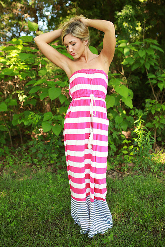 Rooftop Party Stripe Maxi Dress in Fuchsia