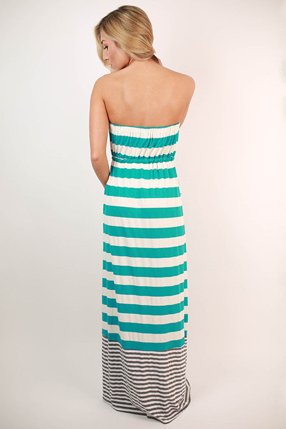 Rooftop Party Stripe Maxi Dress in Electric Blue