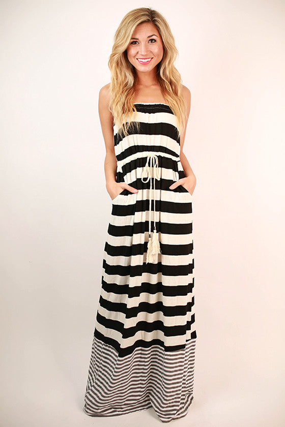 Rooftop Party Stripe Maxi Dress in Black