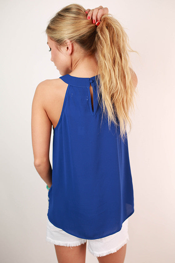 Mojitos in Montego Bay Embroidered Tank in Royal Blue