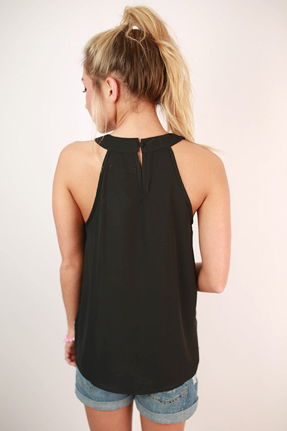 Mojitos in Montego Bay Embroidered Tank in Black