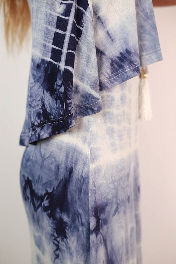 Tie-Dye Treasure Maxi Dress in Blue