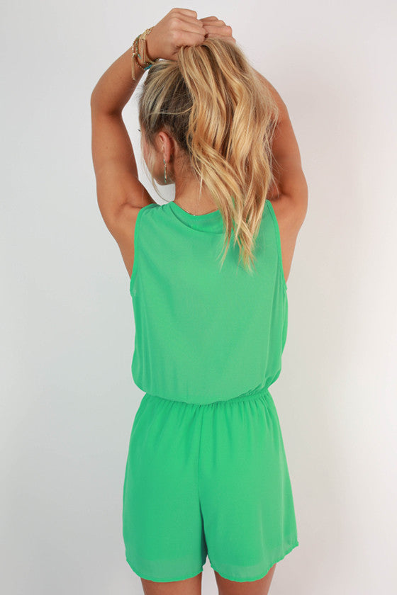 Cocktails in Cabo Ruffle Romper in Jade