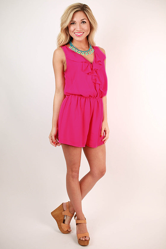 Cocktails in Cabo Ruffle Romper in Hot Pink