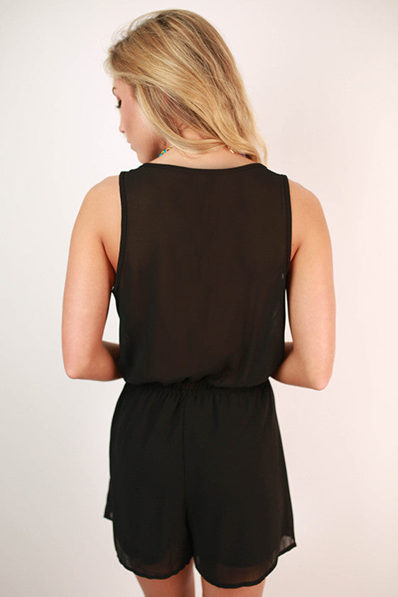 Cocktails in Cabo Ruffle Romper in Black