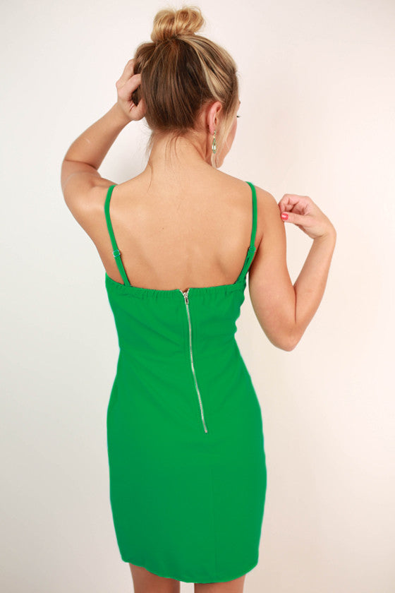 I'm With The Band Spaghetti Strap Dress in Jade