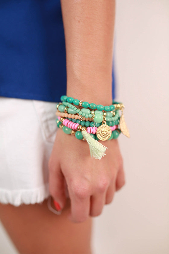Brace Yourself Bracelet in Light Pink