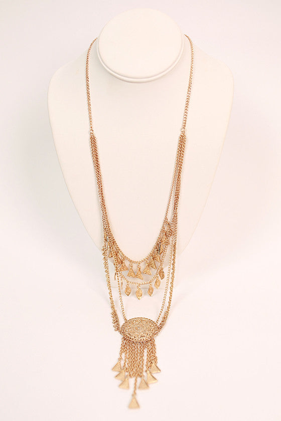 Center Of Attention Necklace in Gold