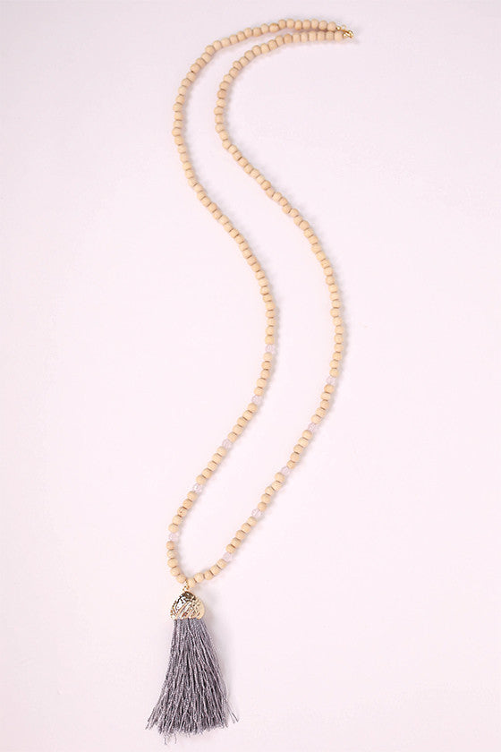 Hello Beautiful Necklace in Grey