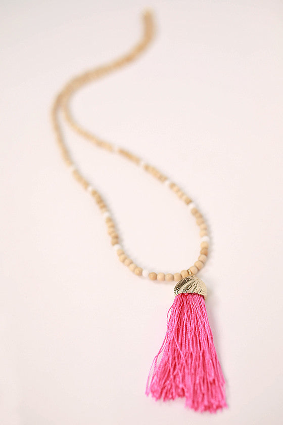 Hello Beautiful Necklace in Pink