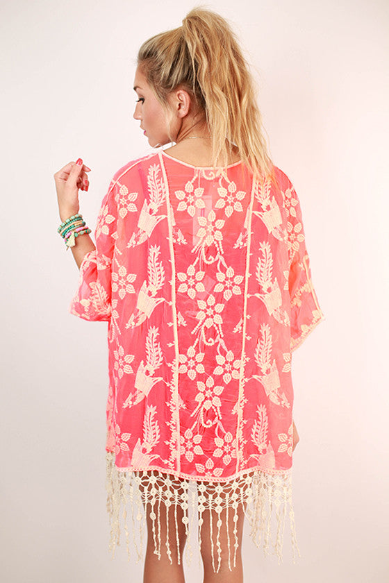 Absolute Perfection Embroidered Overlay in Neon Pink