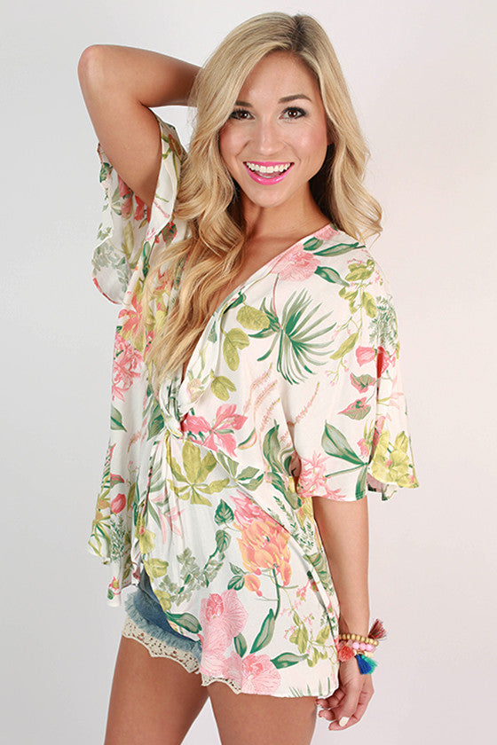 I Favor Floral Print Top in White
