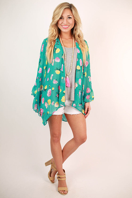 Frolic In Floral Overlay in Turquoise