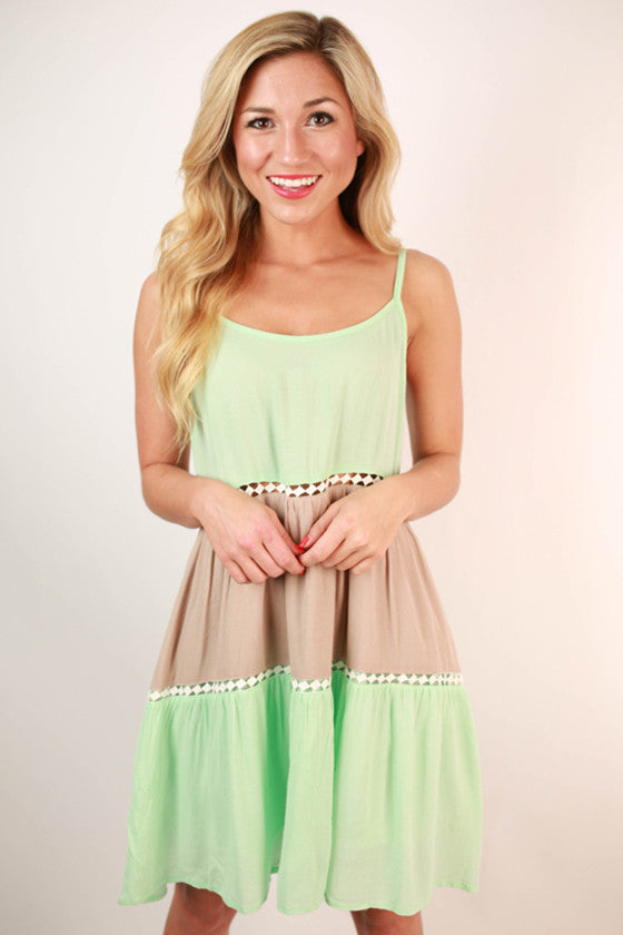 Girl's Best Friend Baby Doll Dress in Mint