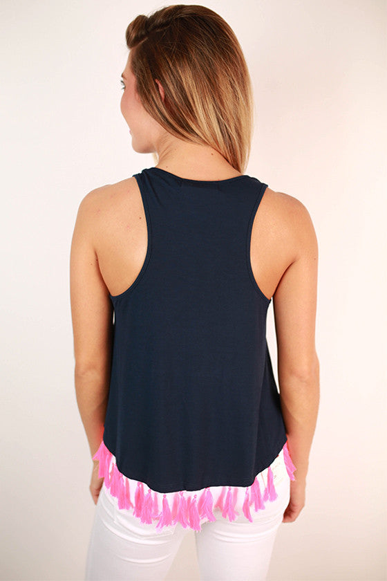 Fringe Forward Tank in Navy