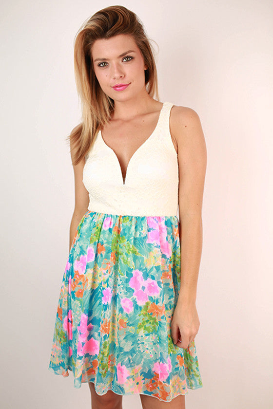 Fashion Favorite Floral Dress in Ocean Blue