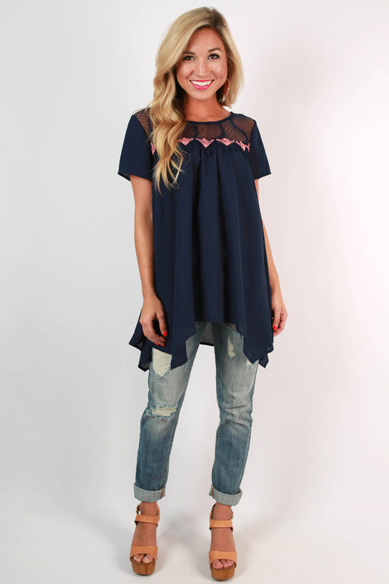 Good Vibes Baby Doll Top in Navy
