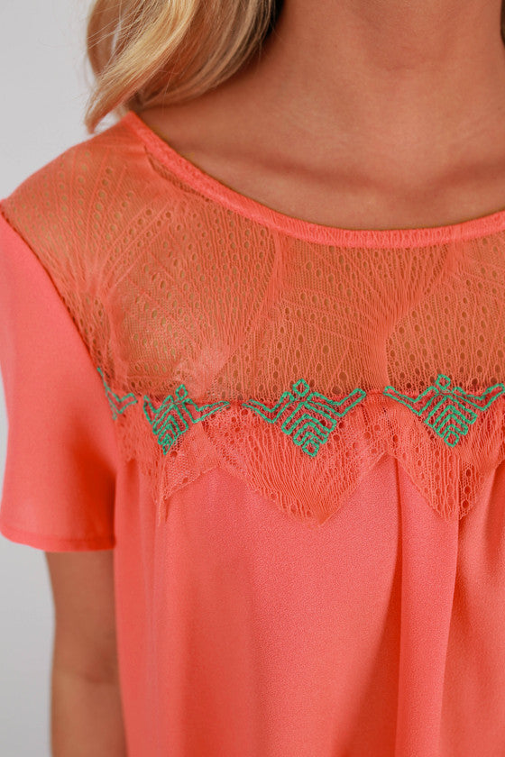 Good Vibes Baby Doll Top in Coral