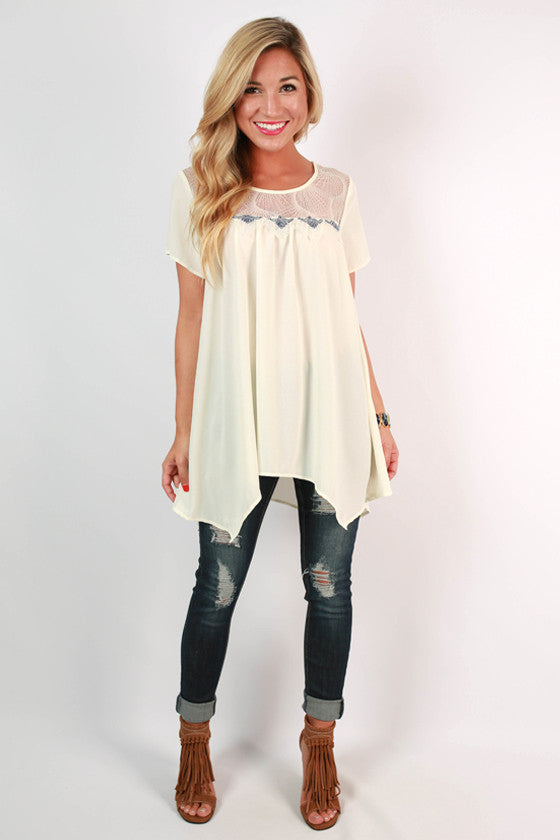 Good Vibes Baby Doll Top in Cream