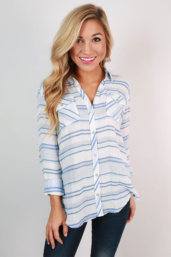 Come Sail Away Stripe Button Up in Blue