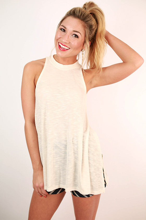 Stylish For Days Ribbed Tank in Ivory