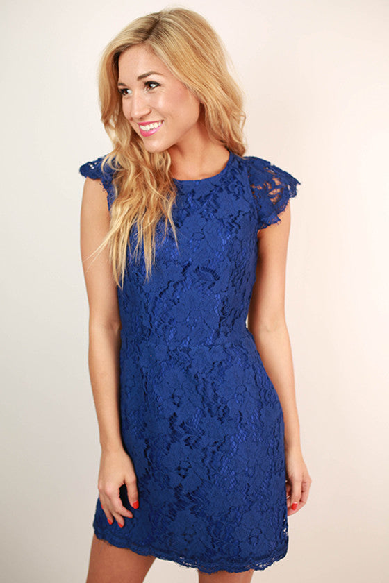 Queen's Lace Mini Dress in Royal Blue