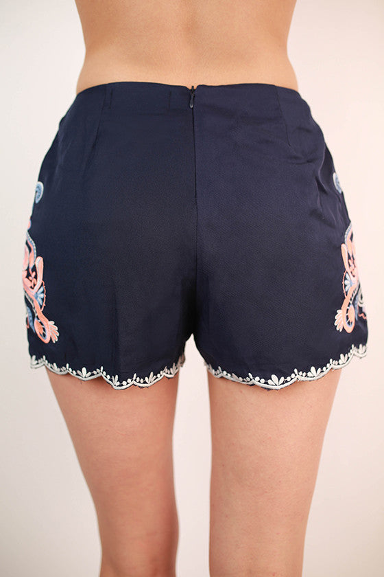 Dancing In The Rain Embroidered Shorts in Navy