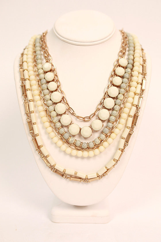 Luxe Life Layer Necklace in Cream