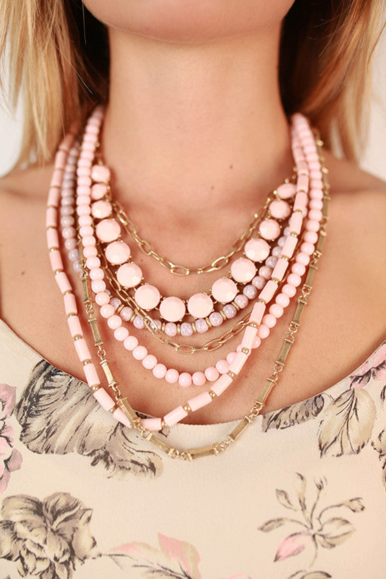Luxe Life Layer Necklace in Blush