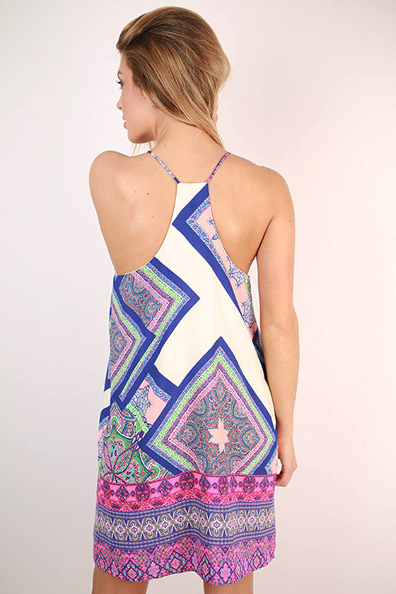 On The Border Print Dress in Blue