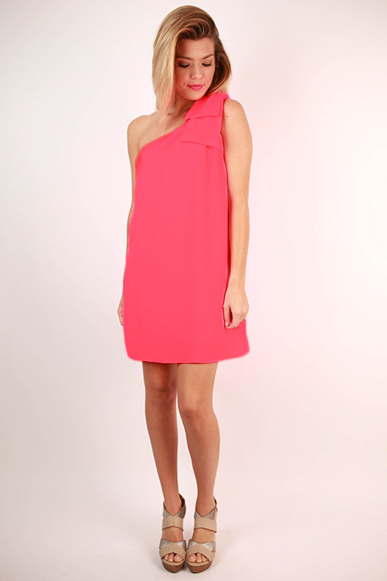 Say You Will Bow Dress in Neon Pink