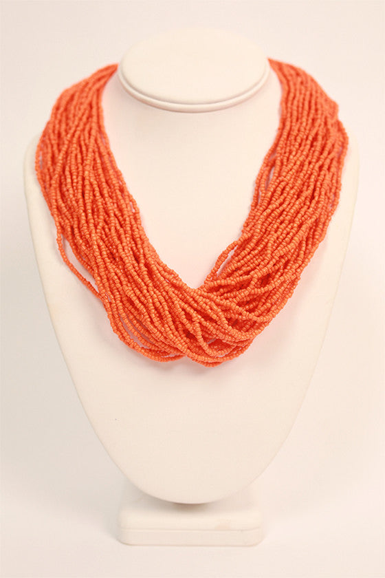 Bead Me Beautiful Necklace in Orange