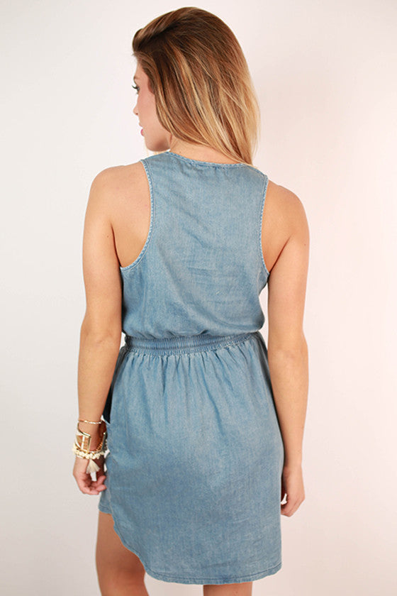 Champagne in Chambray Pocket Dress