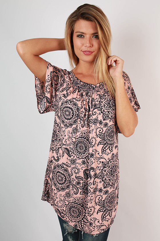Print Perfect Top in Blush